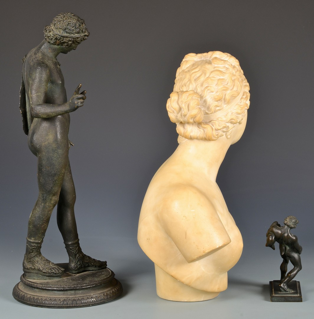 Lot 331: 3 Classical Sculptures, marble and bronze