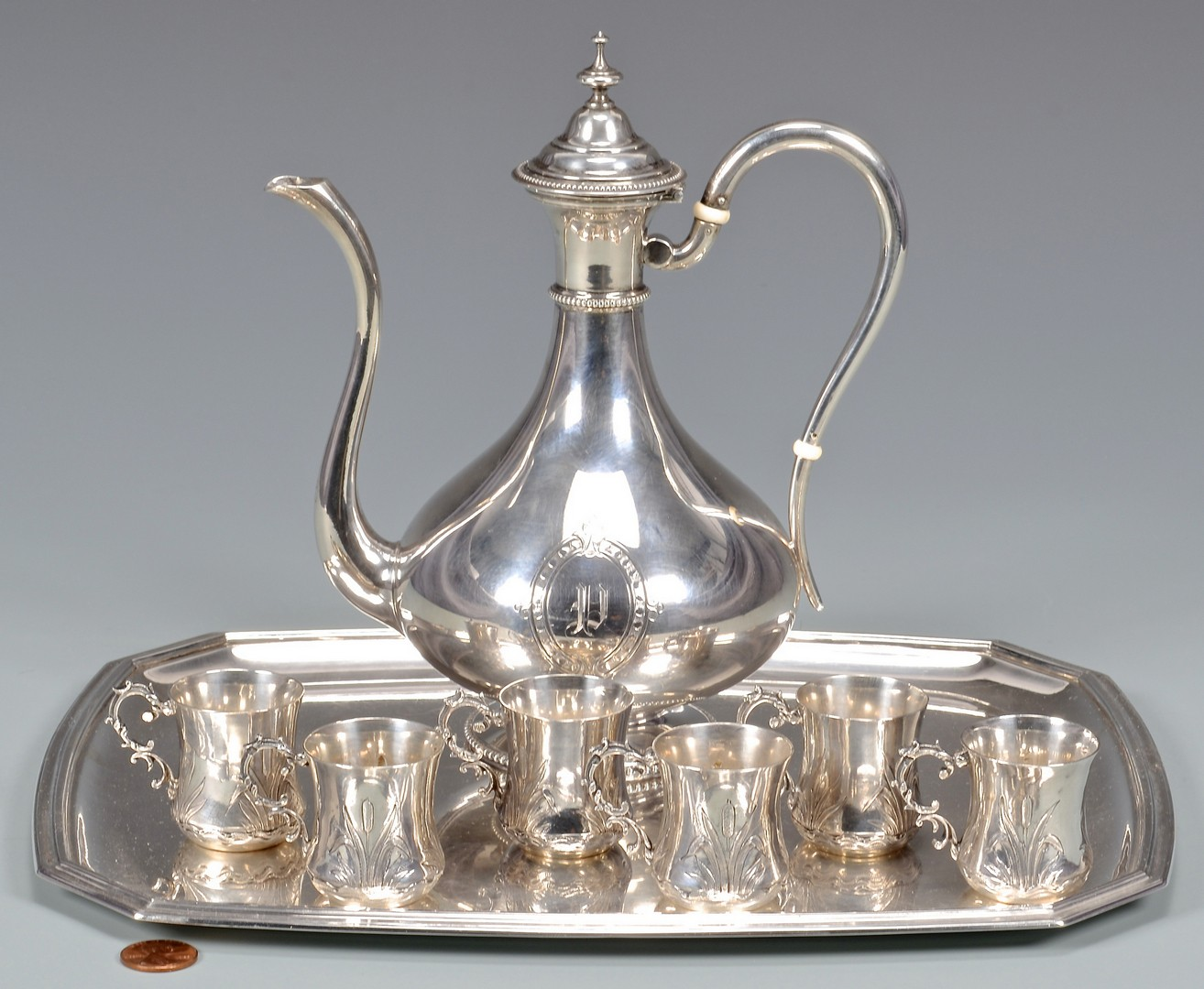 Lot 335: French Silver Demitasse Set