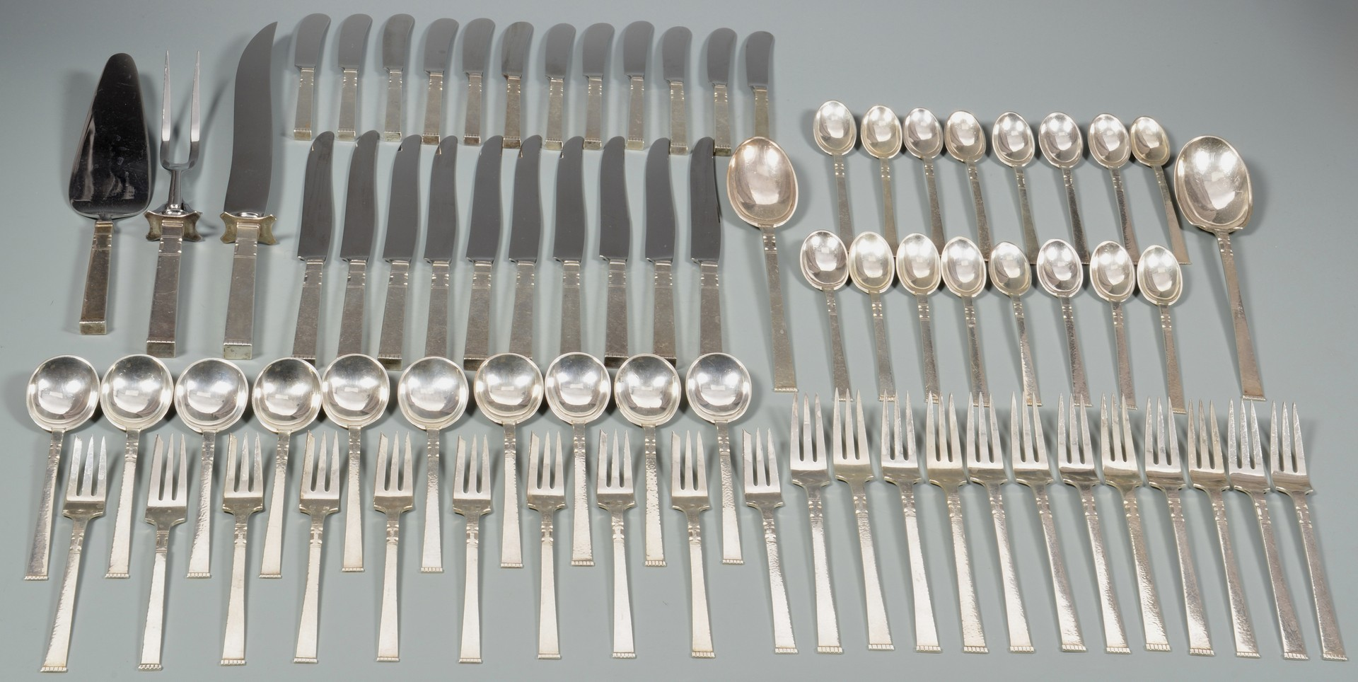 "Lot 351: Gunnar Andersen Sterling ""Karen"" Flatware, 75 pcs"
