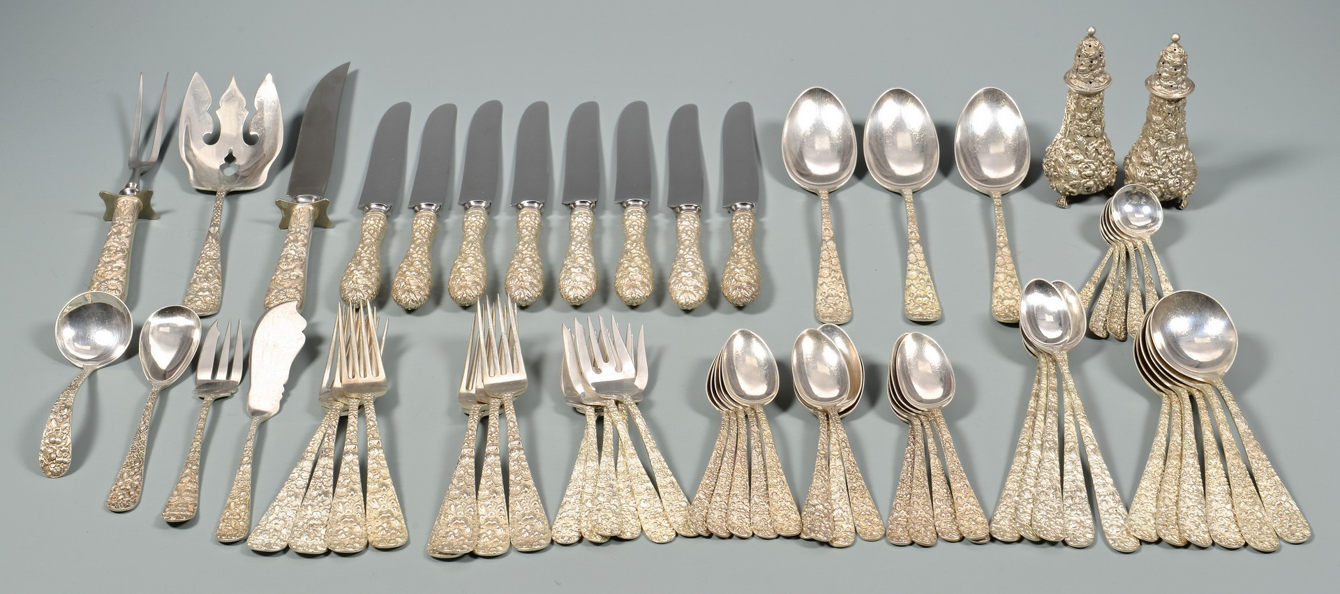 "Lot 356: Stieff ""Maryland Rose"" Sterling Flatware"