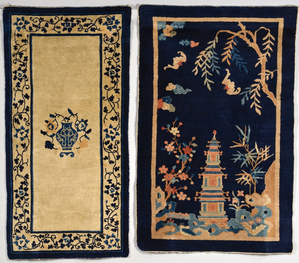 Lot 35: Two Chinese Scenic Rugs, Blue & Ivory