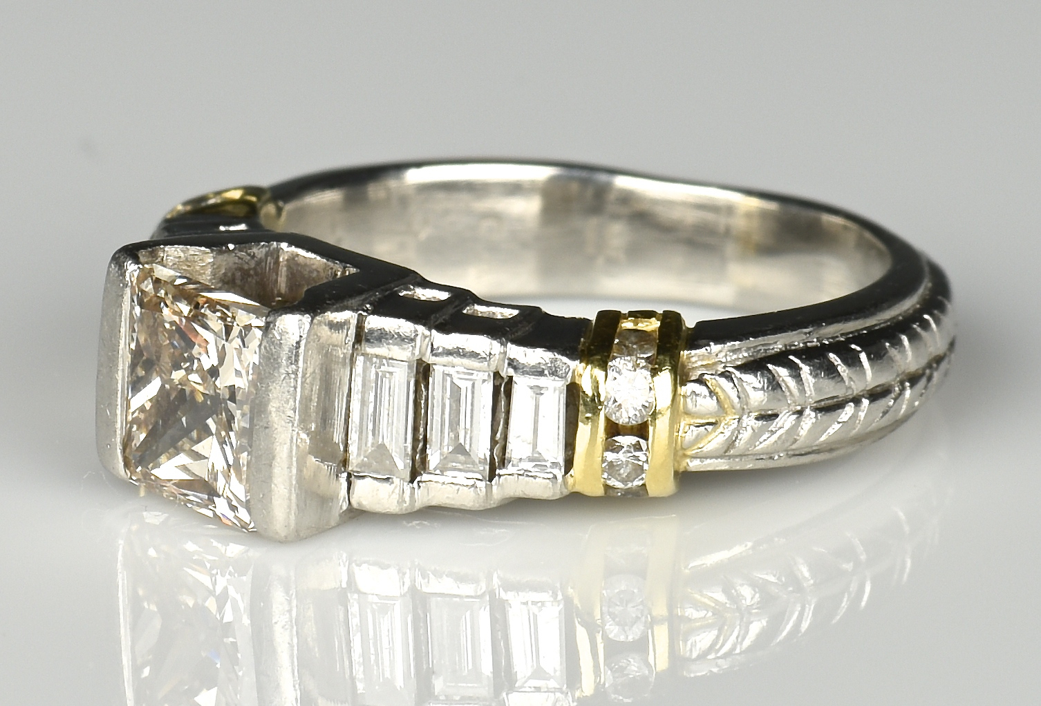Lot 361: Platinum 18K Princess Cut Diamond Ring