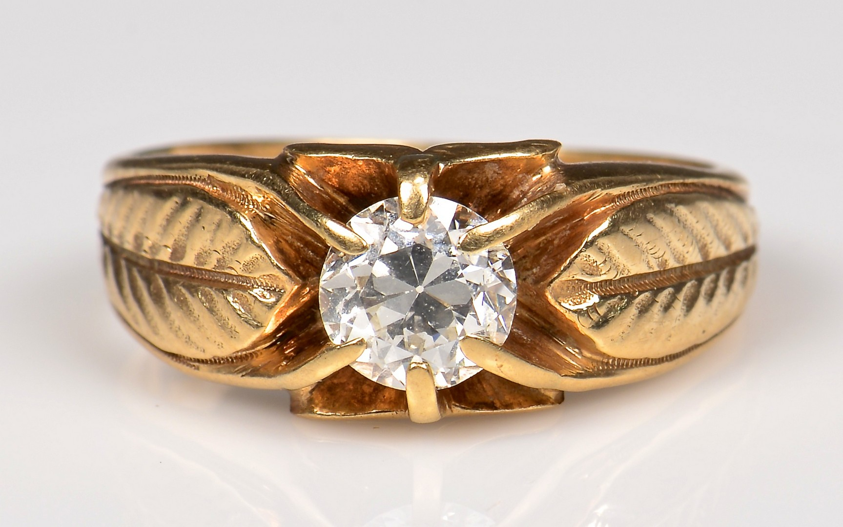 Lot 363: 10K Vintage Gents 1 ct OMC Ring