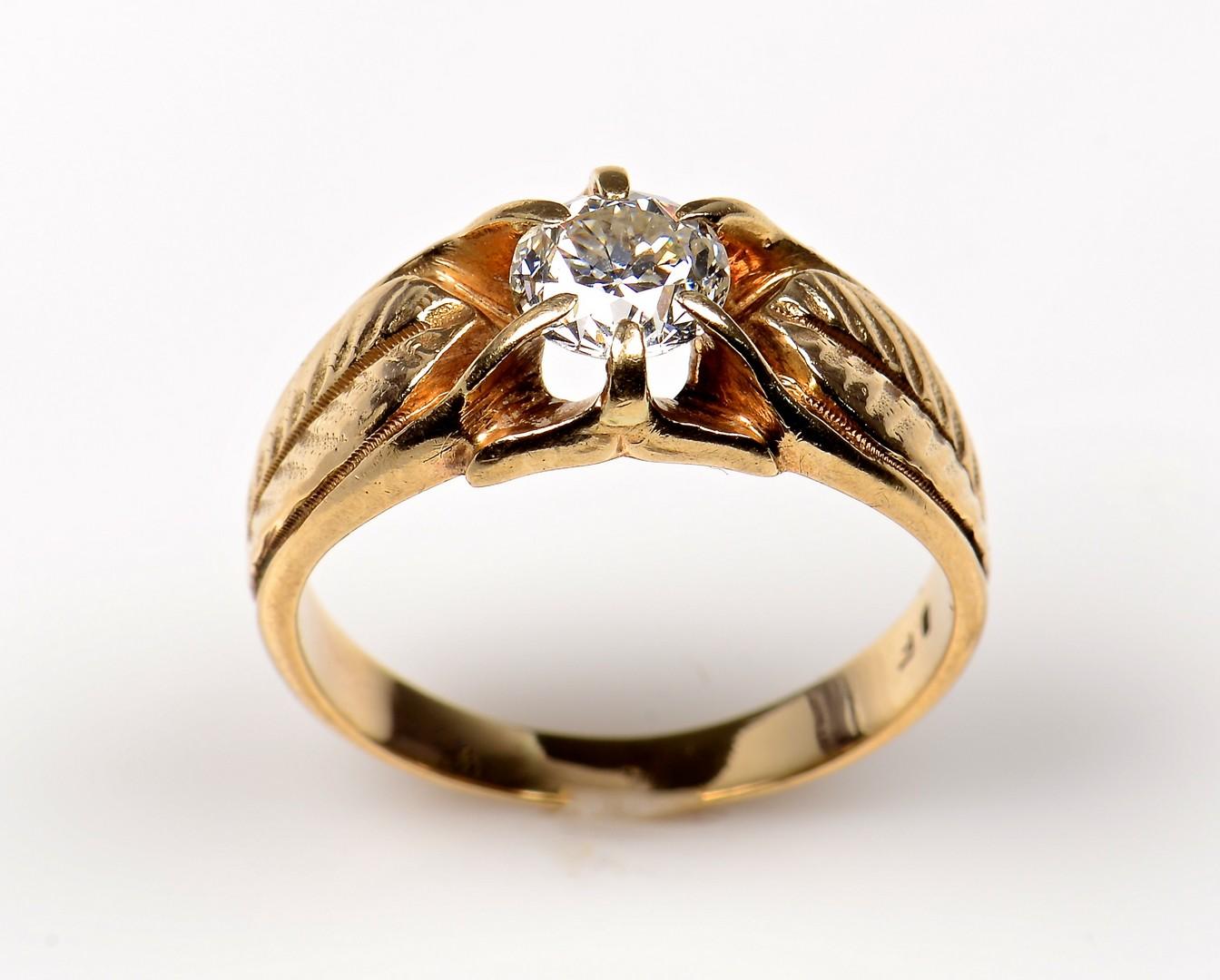 Lot 363: 10K Vintage Gents 1 ct OMC Ring