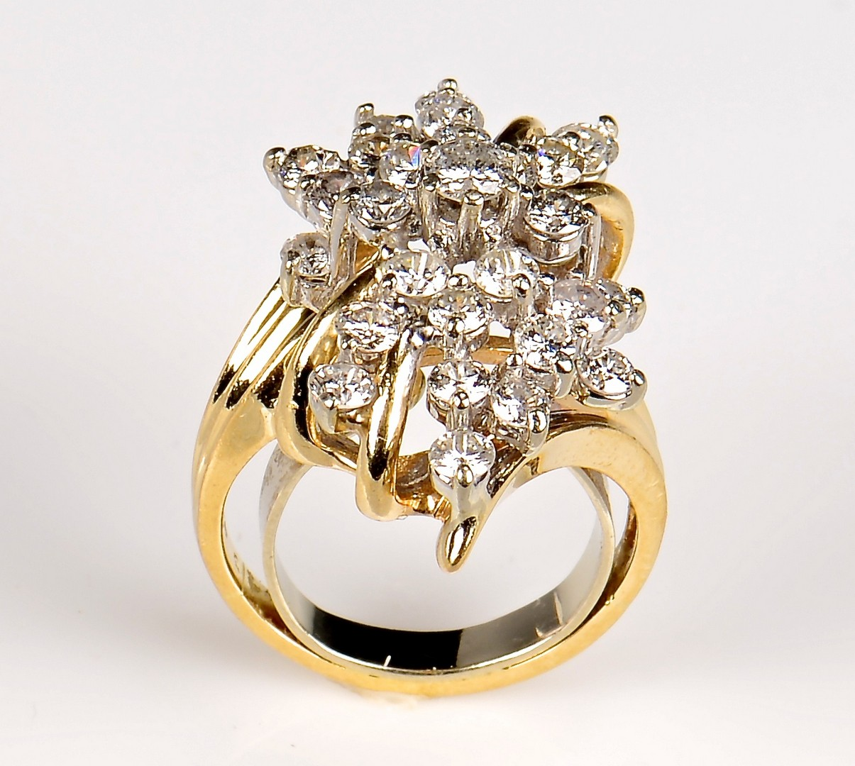 Lot 369 10k Diamond Waterfall Cluster Ring