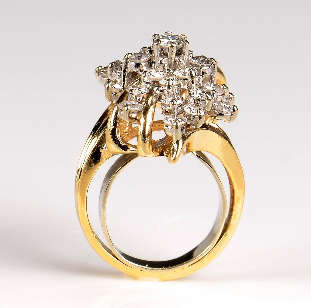 Lot 369: 10K Diamond Waterfall Cluster Ring