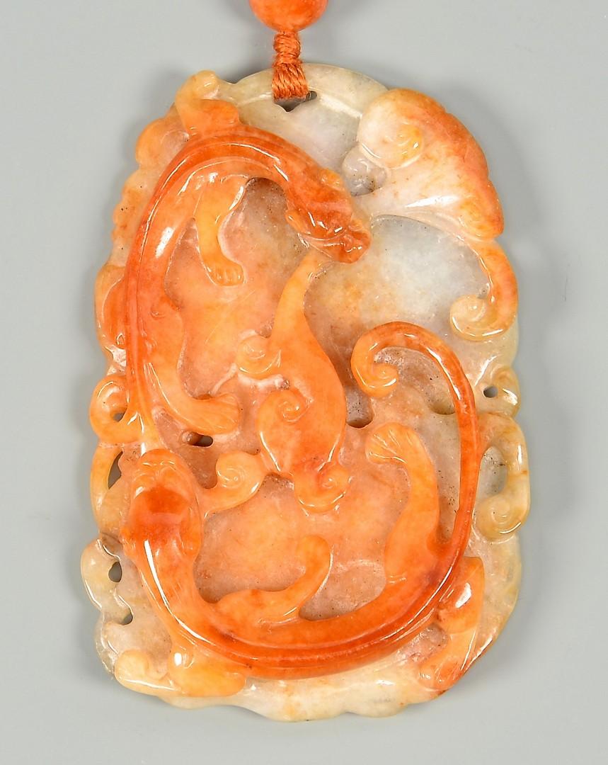 Lot 36: Jade Necklace w/ salamander disk
