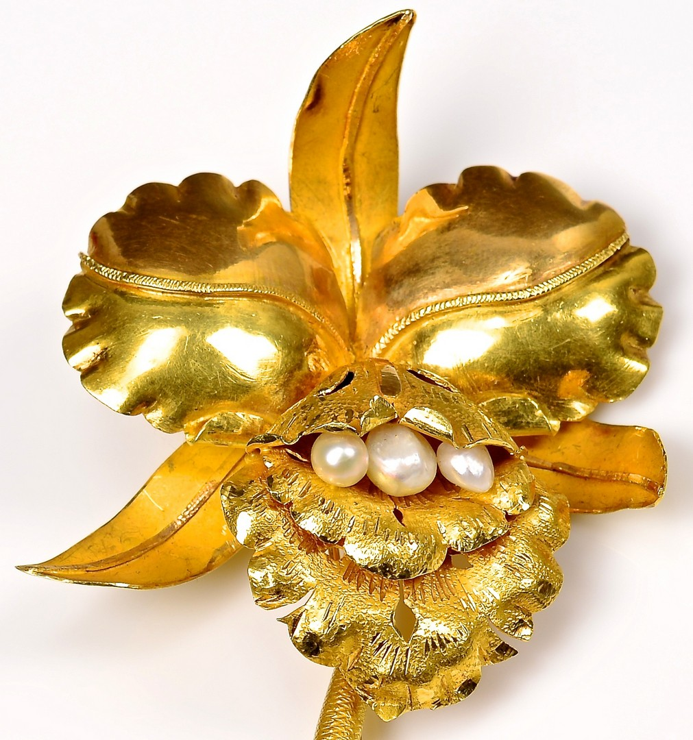 Lot 372: 18K Orchid Brooch, 39.6 Grams