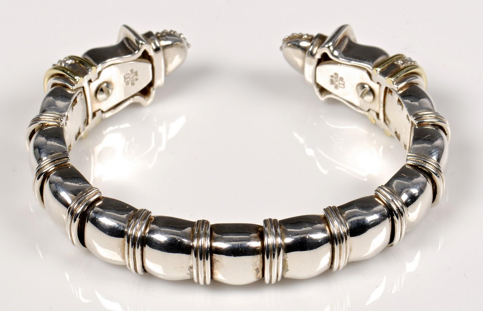 Lot 373: Designer Sterling 18K, Dia Bracelet