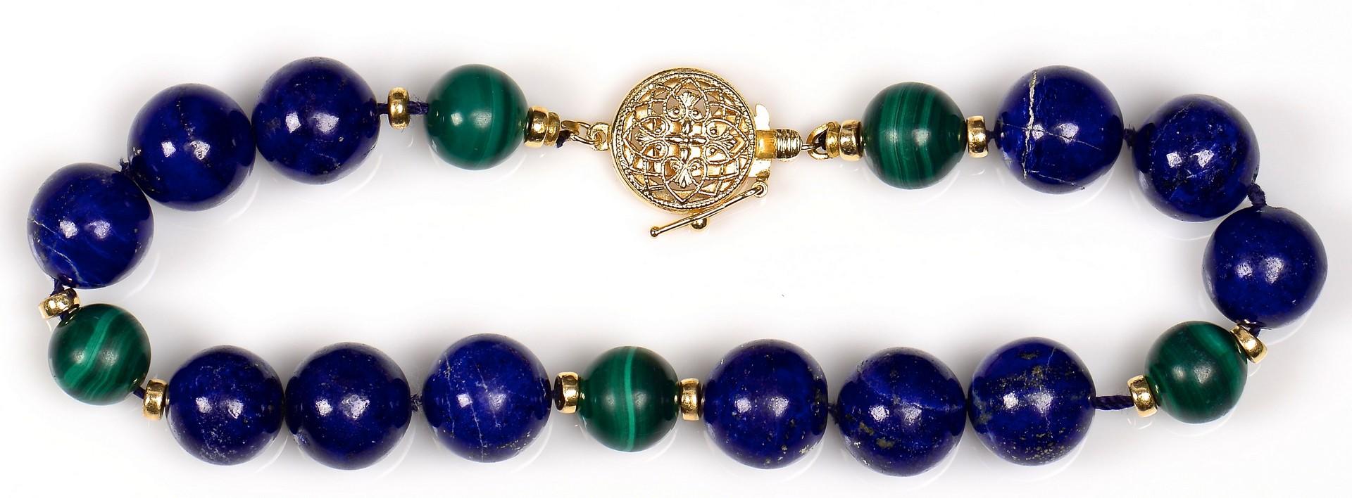 Lot 374: 14K Lapis and Malachite Jewelry