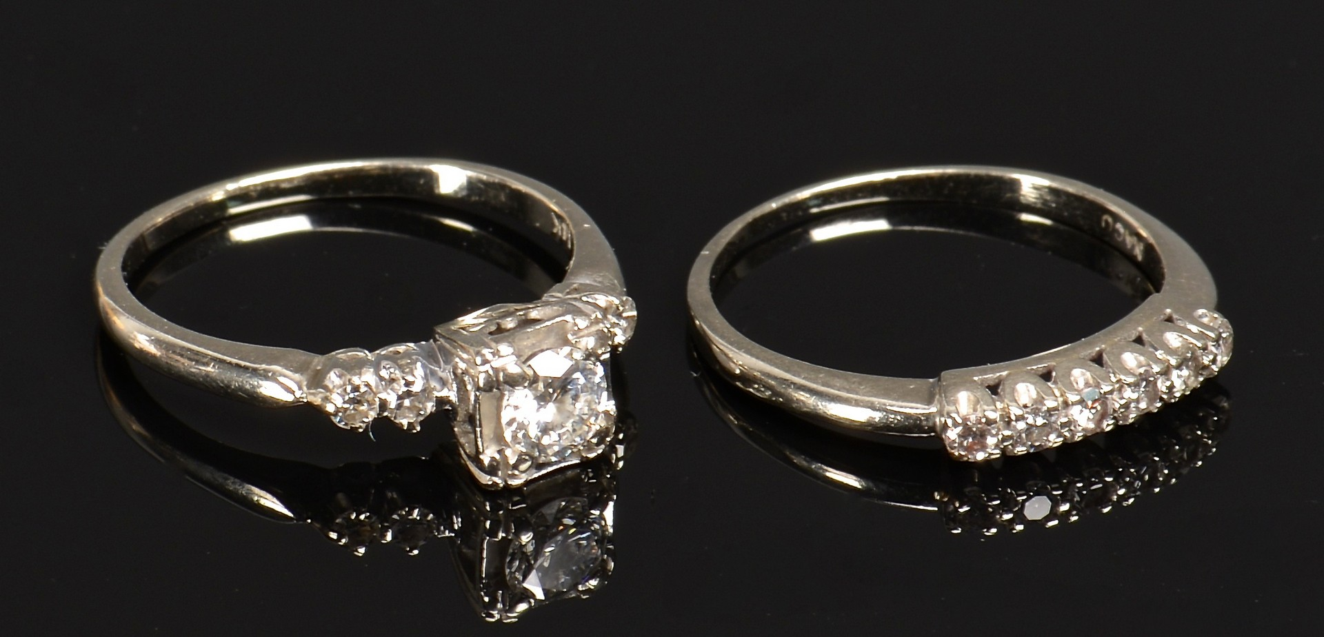 Lot 376: 14K Dia Wedding Set & 18K Band
