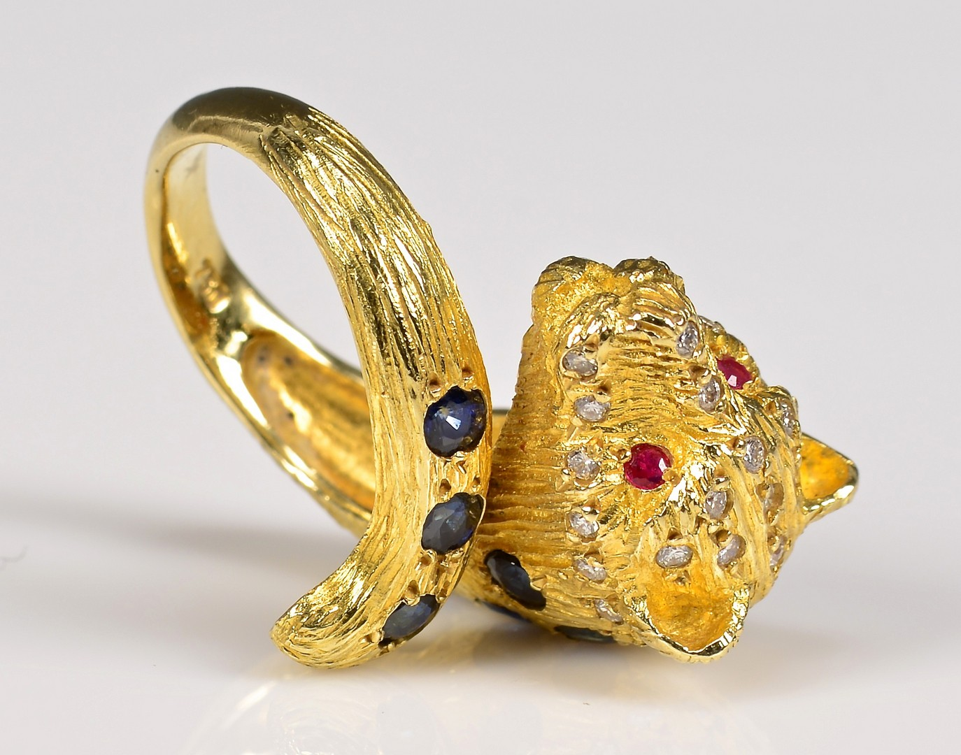 Lot 378: 18K Leopard Ring with Stones