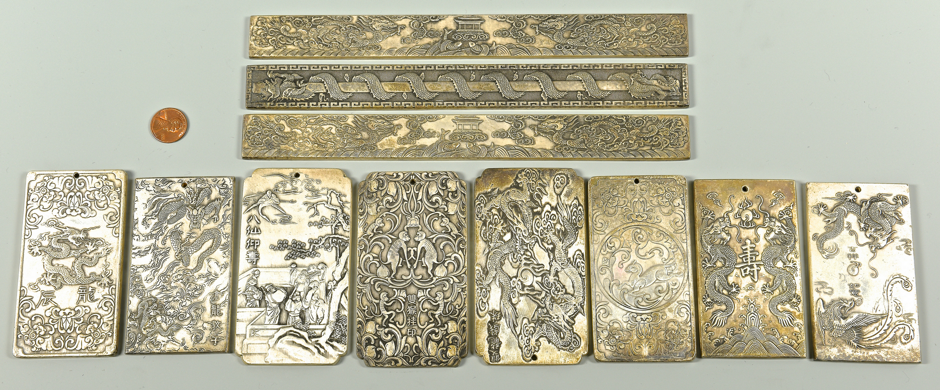 Lot 37 Chinese Silver Plaques Or Scroll Weights