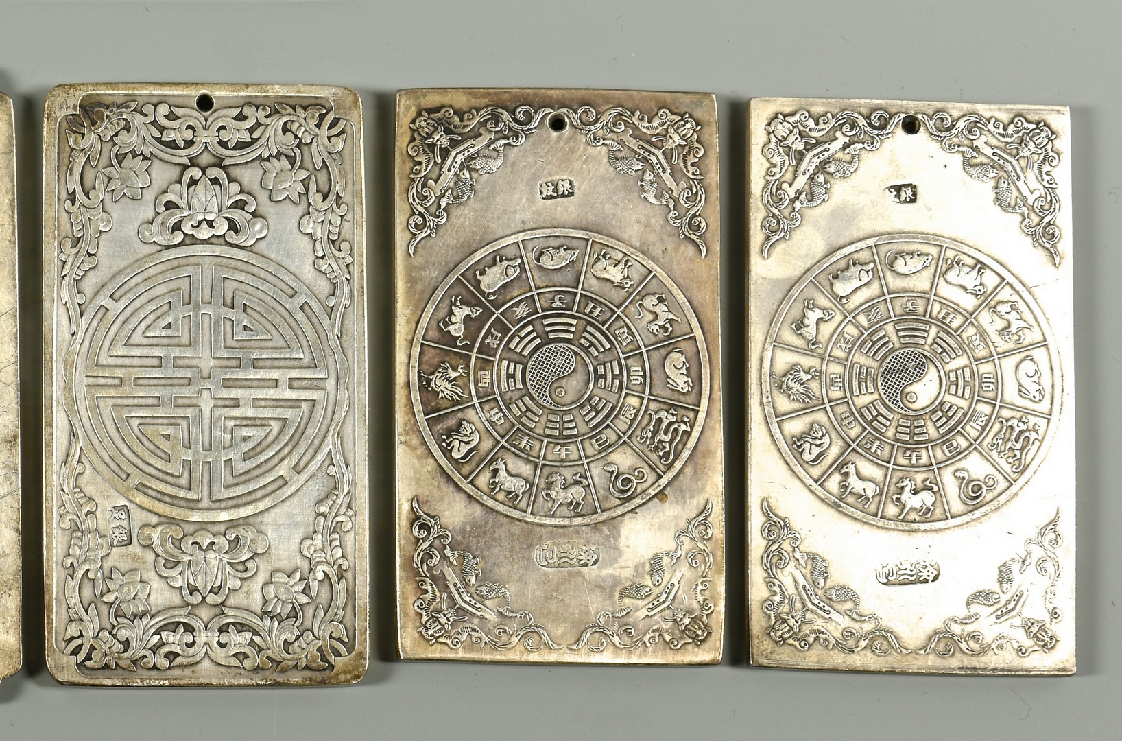 Lot 37: Chinese Silver Plaques or Scroll Weights
