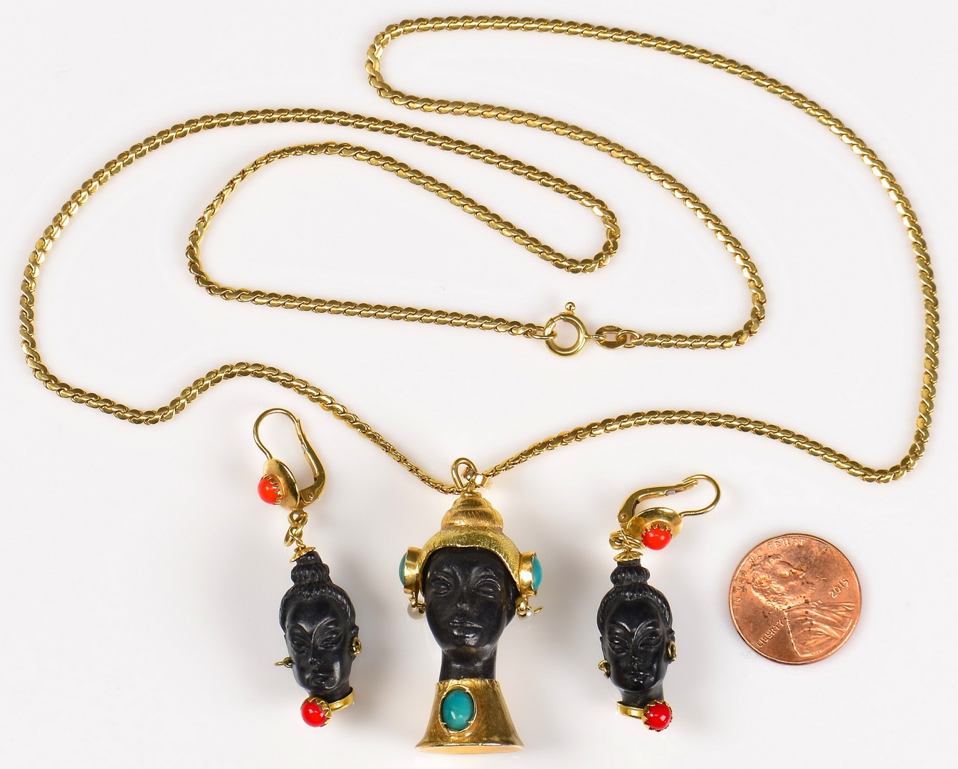 Lot 381: Set 18K Blackamoor Jewelry