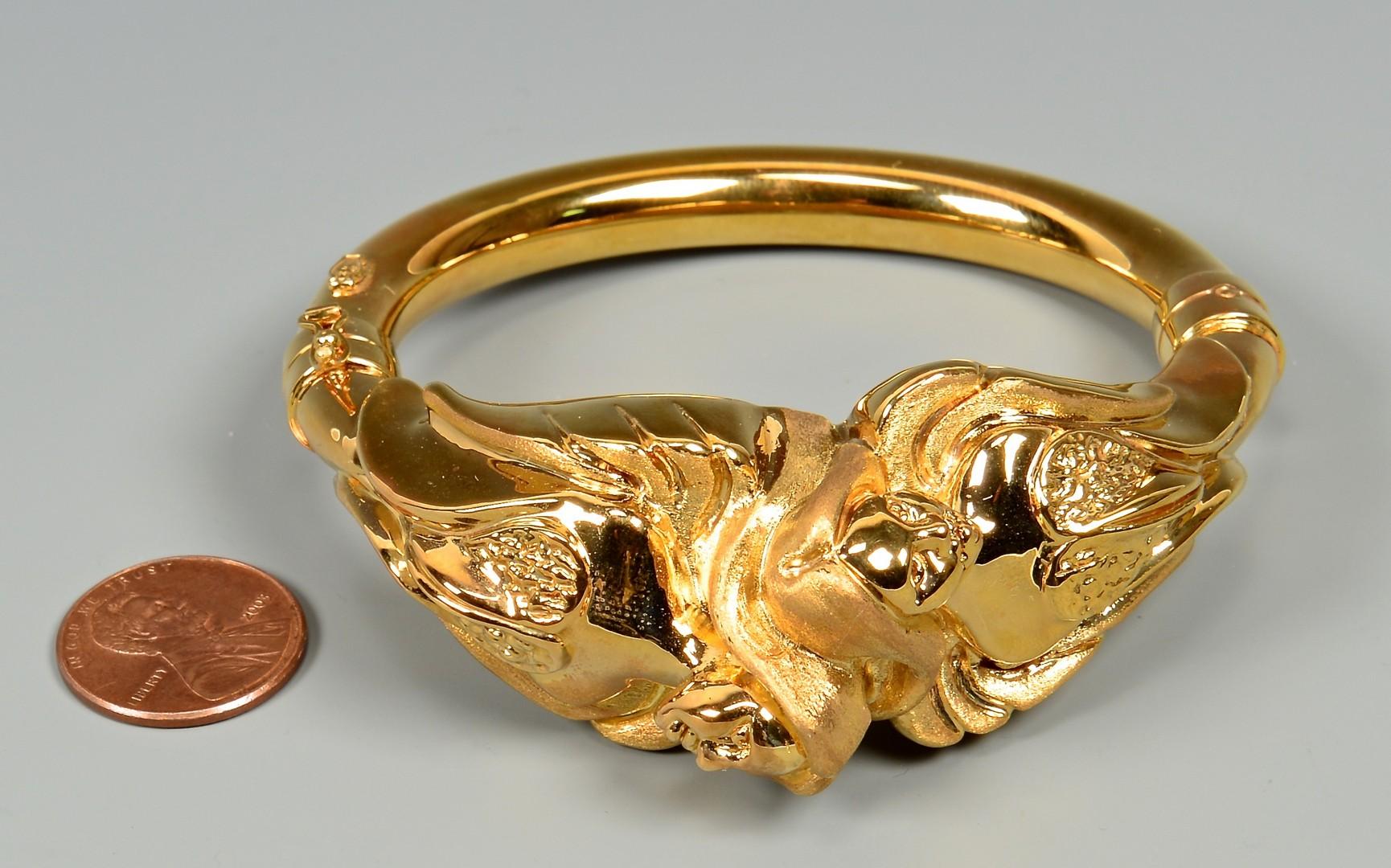 Lot 382: 14K Italian Figural Bangle Bracelet