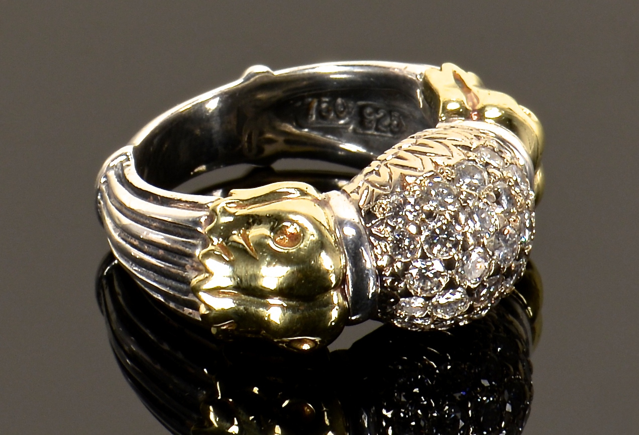 Lot 384: Two Lagos SS 18K Diamond Rings