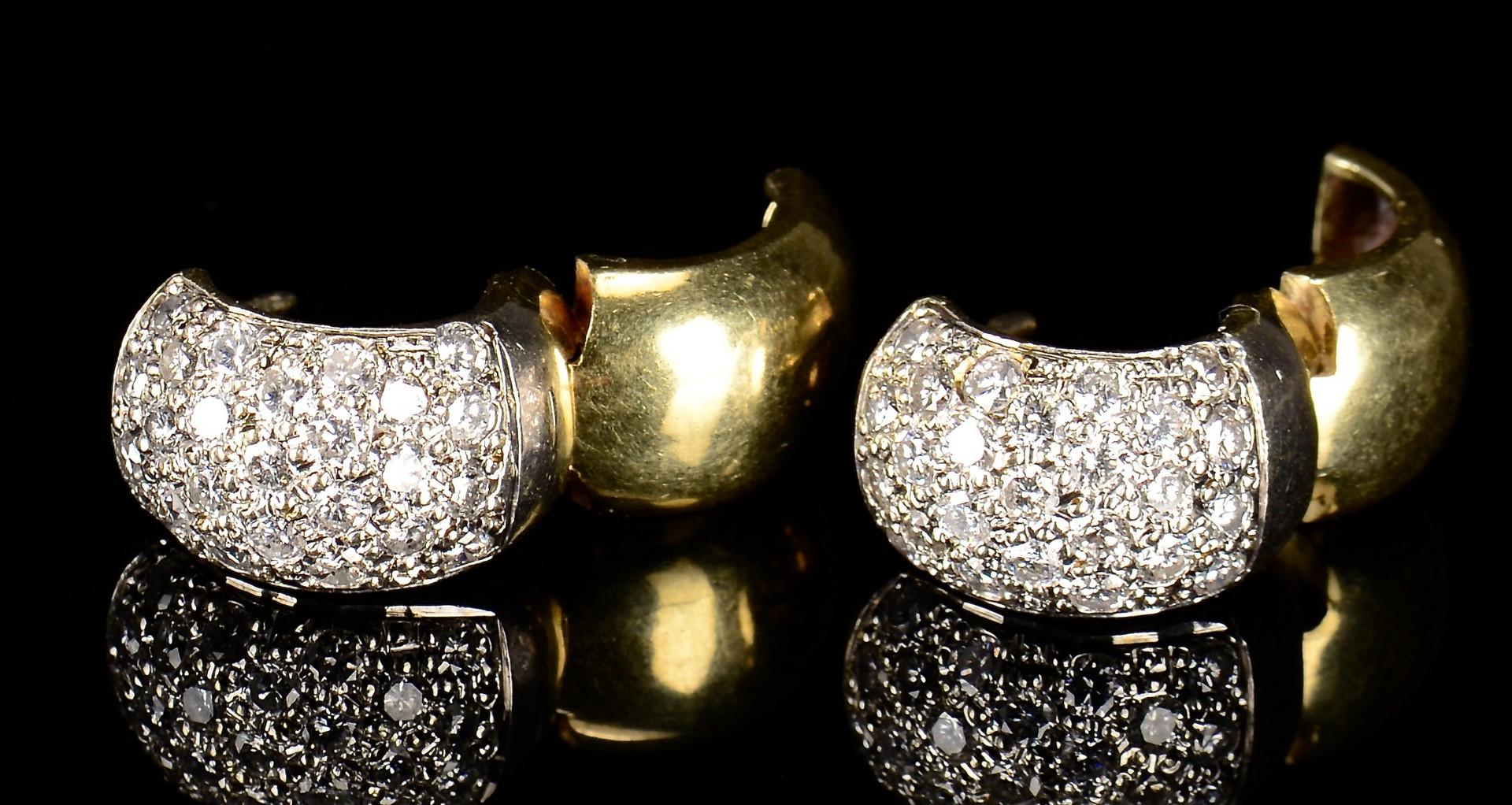 Lot 386: 14K Diamond Hoop Earrings
