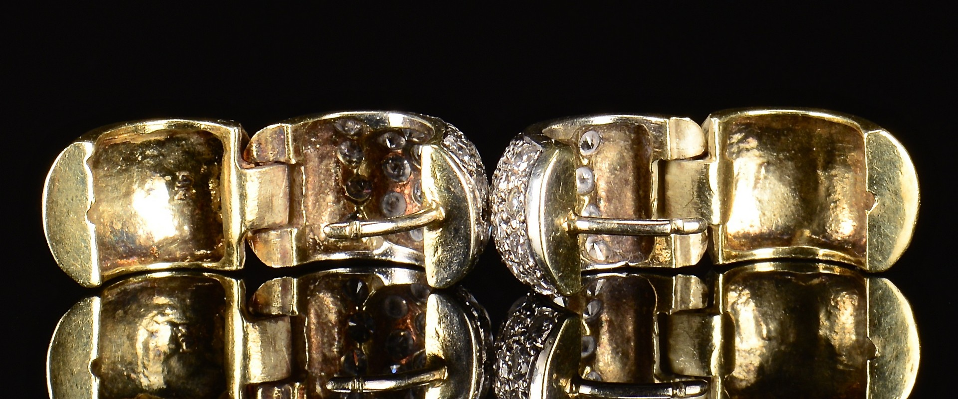 Lot 386: 14K Diamond Hoop Earrings