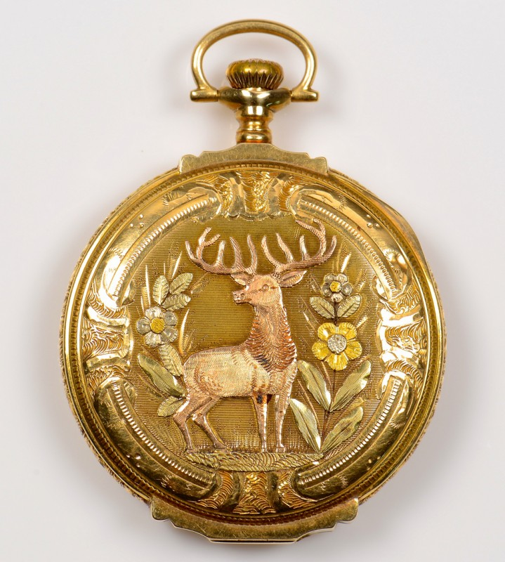 Lot 389: 14K 4-color Elgin Hunt Case Pocket Watch