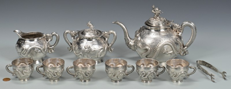 Lot 38: Chinese Export Silver Tea Set, 10 pcs