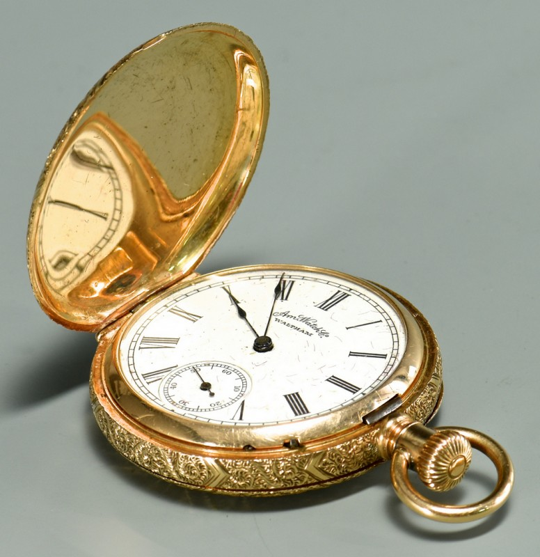 Lot 390: 14K Waltham Hunting Case Watch