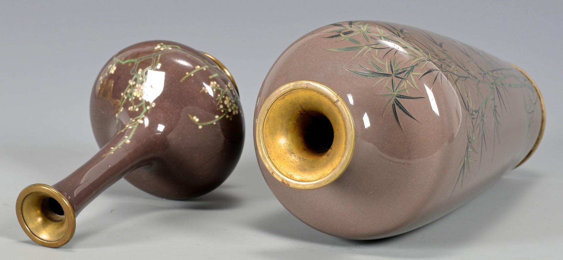 Lot 391: 5 Asian Cloisonne Enameled Vases