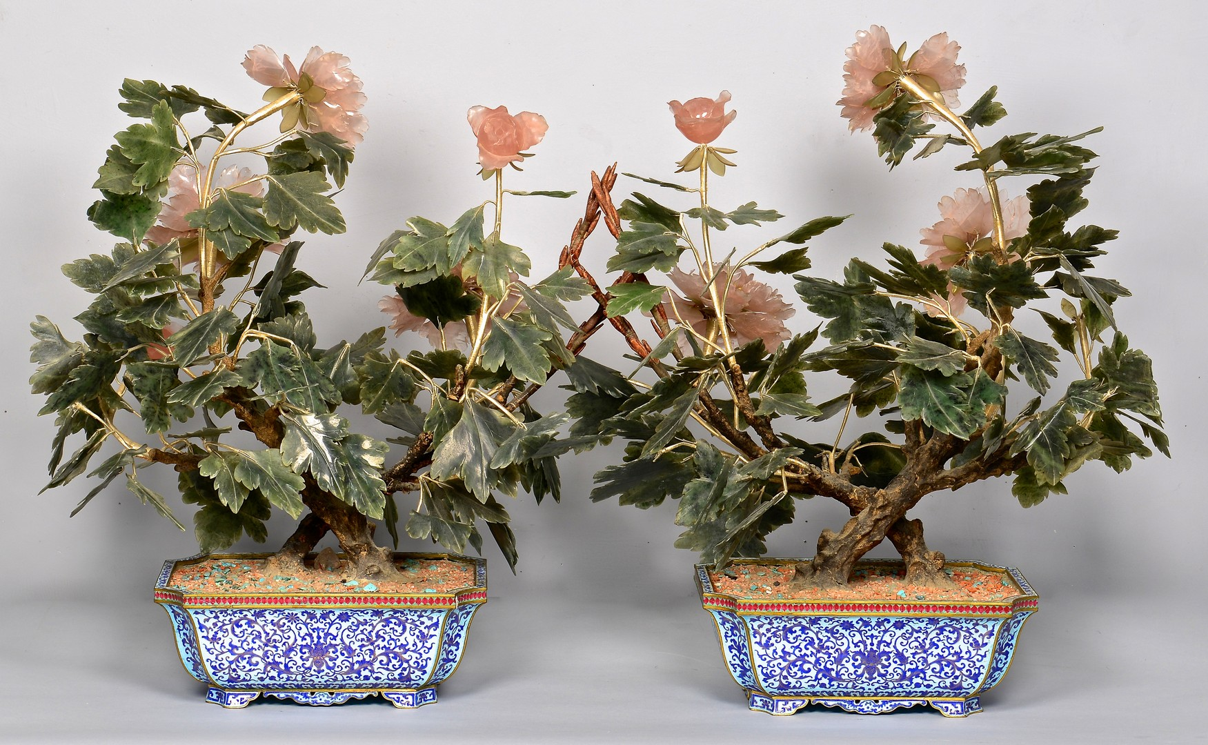 Lot 394: Pr. Chinese Agate Flowering Trees