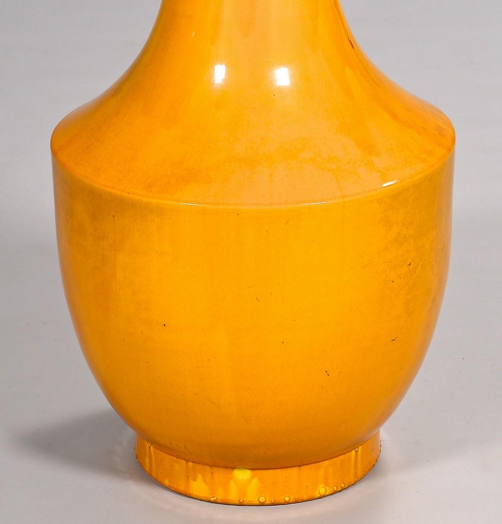 Lot 395: Floor Size Asian Monochrome Yellow Vase