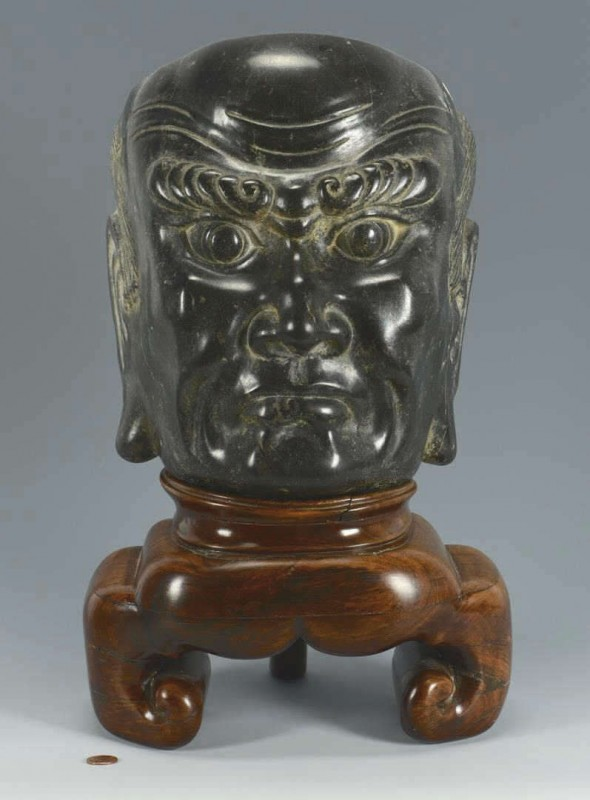Lot 396: Chinese Hardstone Mask w/ Custom Hardwood Stand