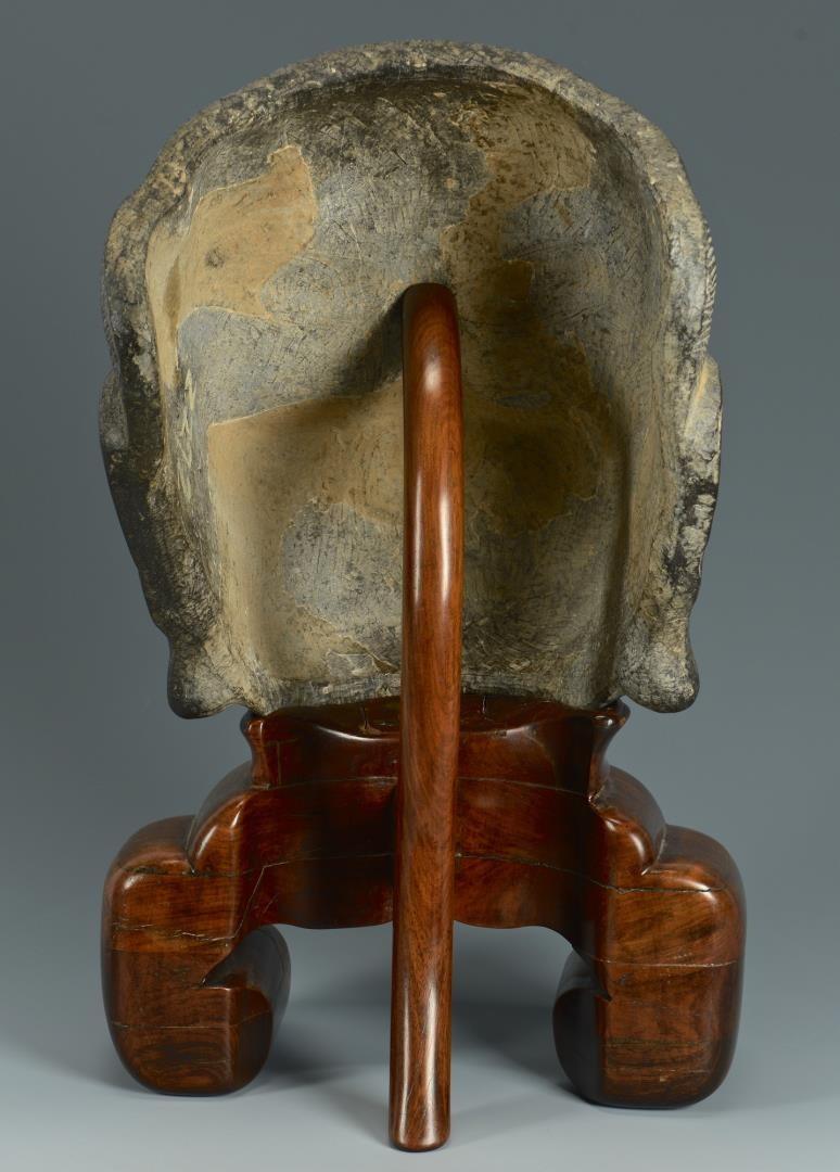 Lot 396: Chinese Hardstone Mask w/ Custom Hardwood Stand