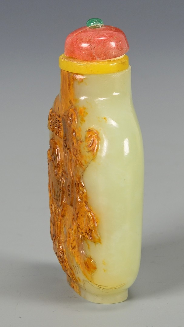 Lot 398: Celadon Jade Snuff Bottle, Signed
