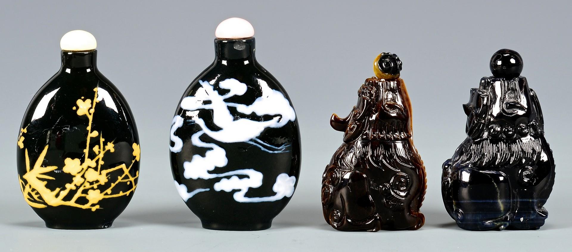 Lot 399: 6 Chinese Glass & Stone Snuff Bottles