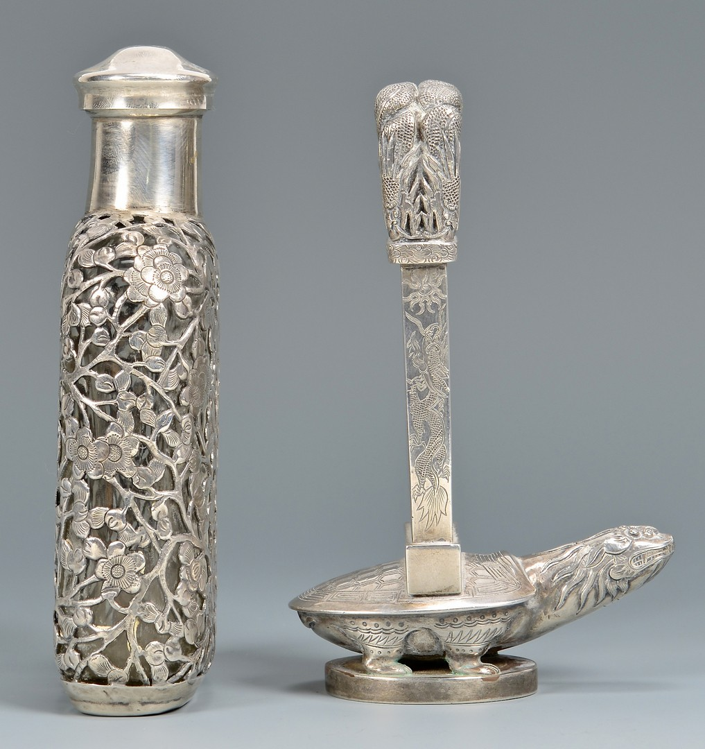 Lot 39: 2 Chinese Export Silver Items, Flask & Miniature B