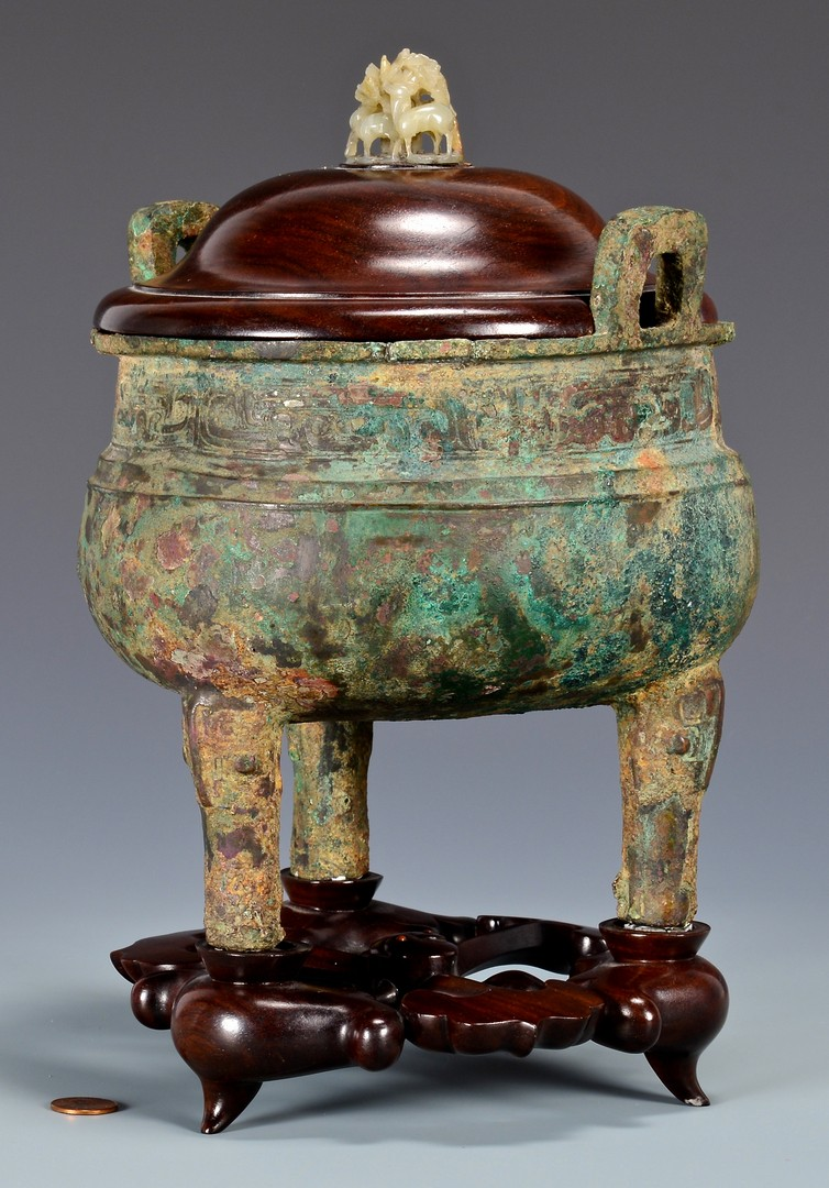 Lot 3: Chinese Archaic Bronze Censer, Jade Finial
