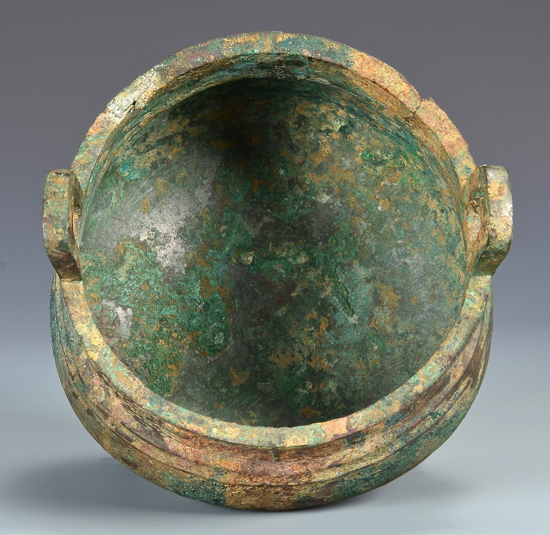 Lot 3: Chinese Archaic Bronze Censer, Jade Finial