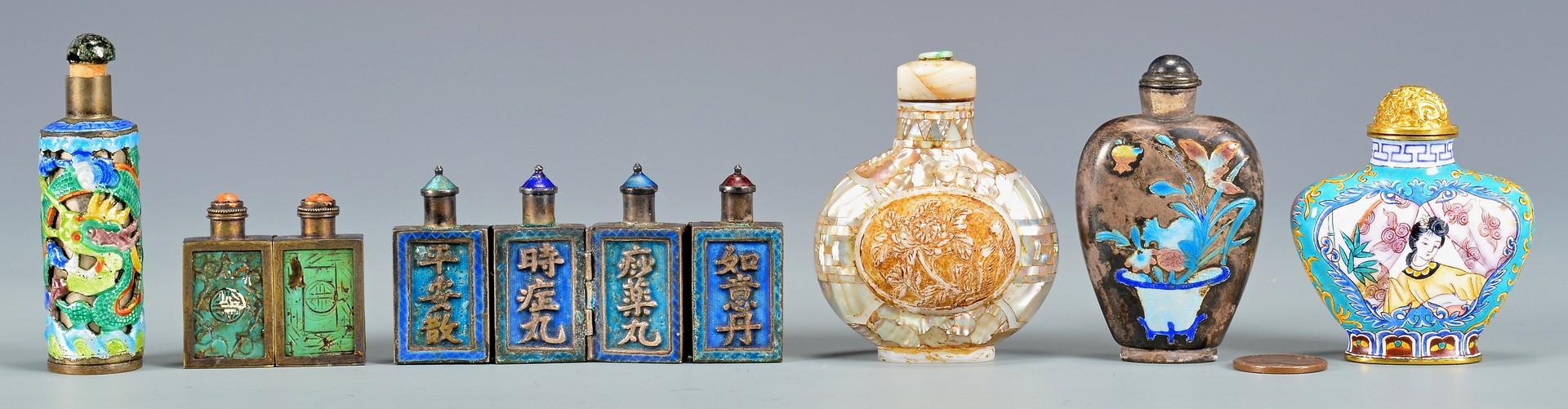 Lot 400: 6 Chinese Snuff Bottles, 5 Metal