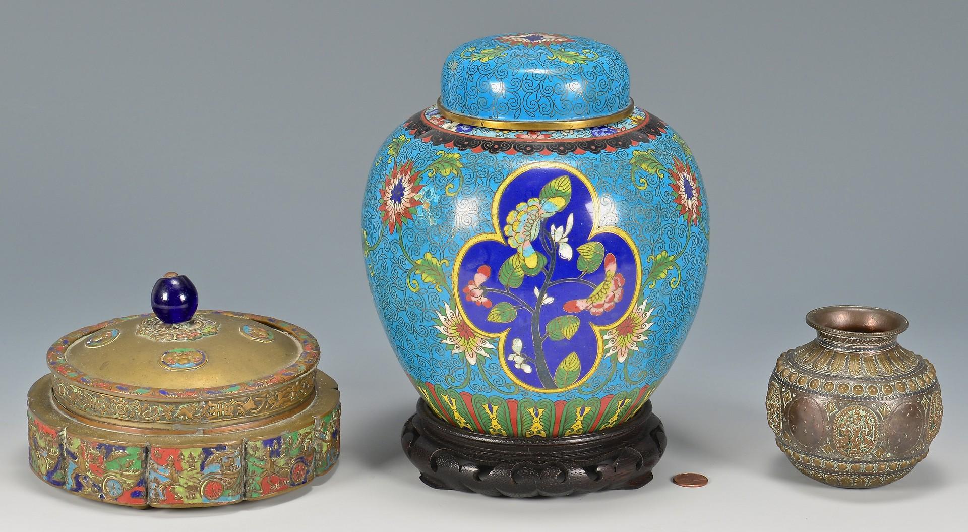 Lot 405: 3 Asian Metal Decorative Items