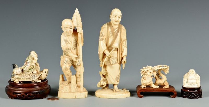 Lot 406: 5 Ivory Okimono and Netsuke Figures