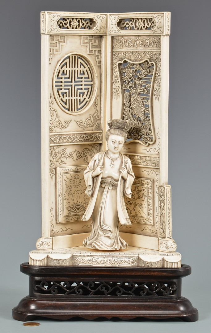 Lot 407: Japanese Carved Ivory Female & Screen, 2nd Quarter