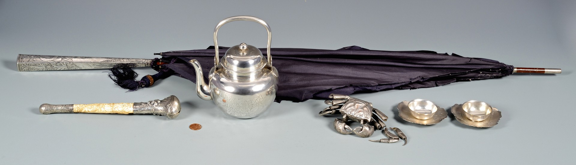 Lot 40: 6 Asian Silver items inc Tea Pot with Presentation