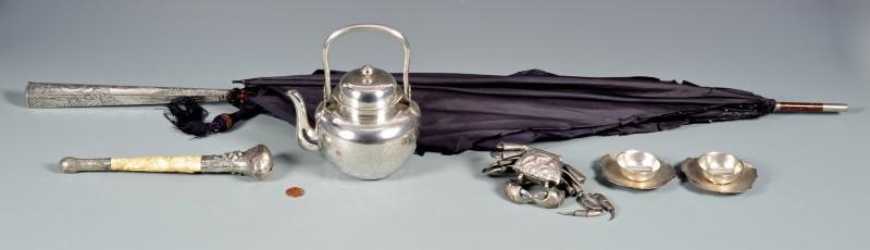 Lot 40: 6 Asian Silver items inc Tea Pot with Presentation