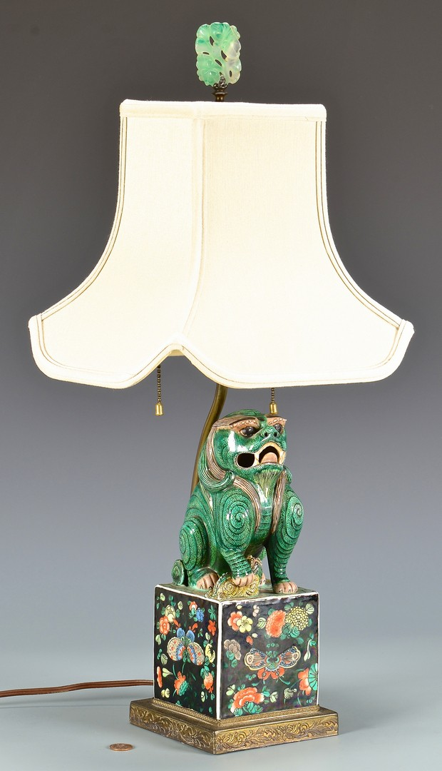 Wonderful Lot 411: Chinese Polychrome Foo Dog Lamp