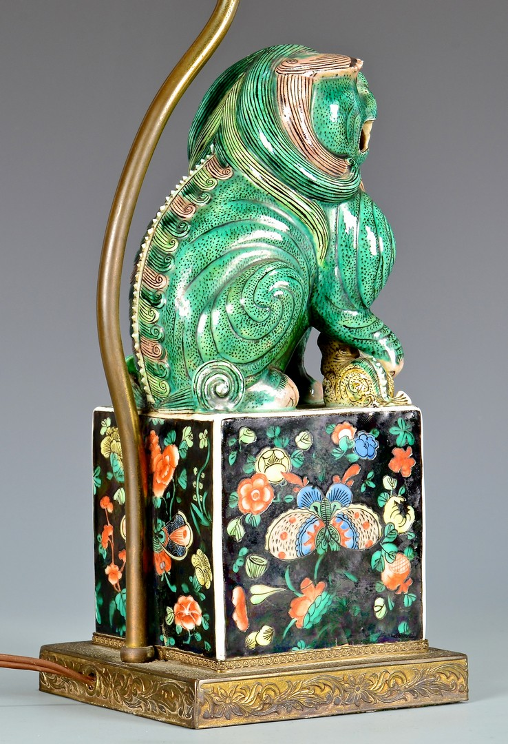 Lot 411: Chinese Polychrome Foo Dog Lamp