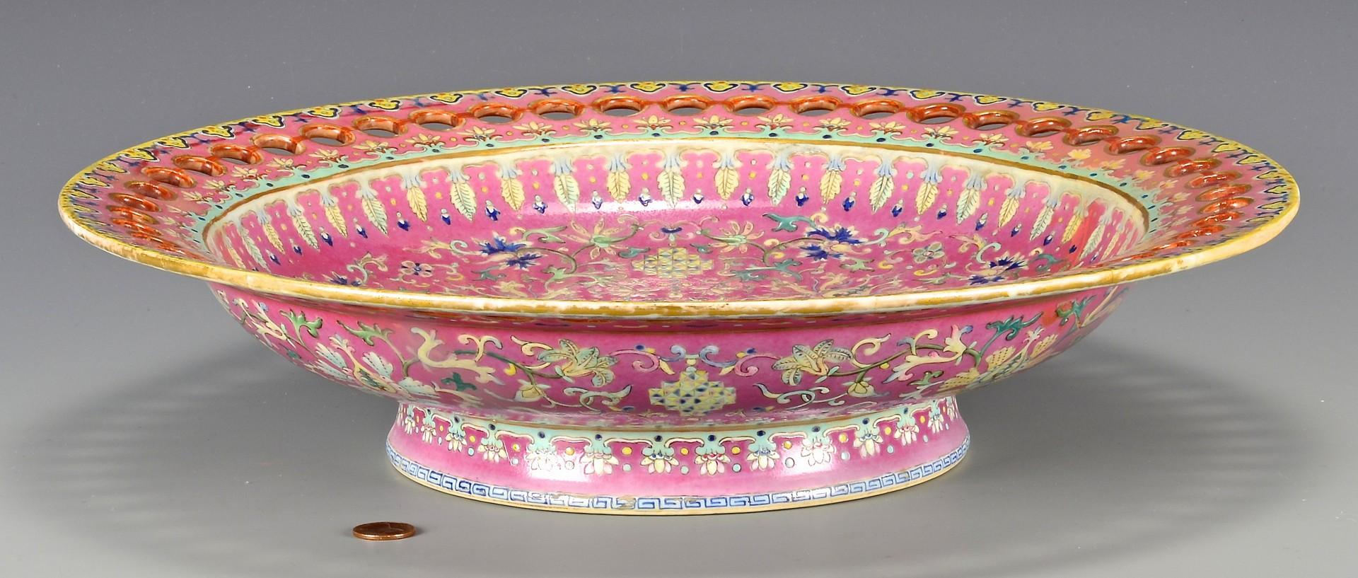 Lot 412: Chinese Famille Rose Dish w/ Pierced Rim