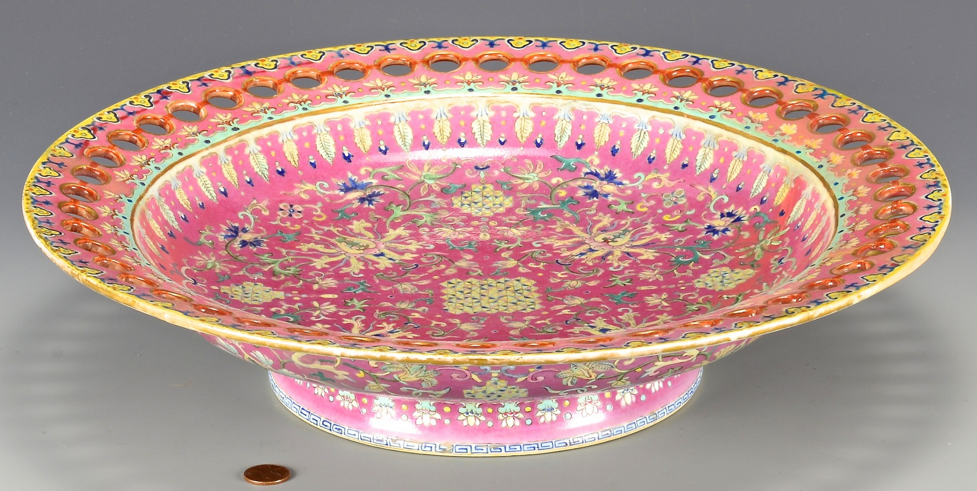 Lot 412: Chinese Famille Rose Dish w/ Pierced Rim