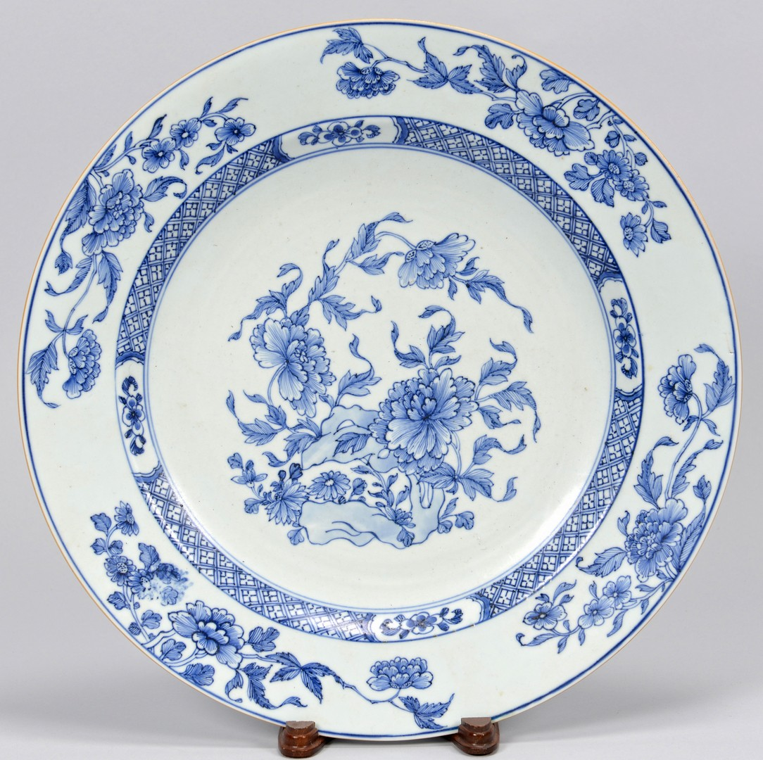 Lot 414: 5 Asian Themed Blue & White Plates/Chargers