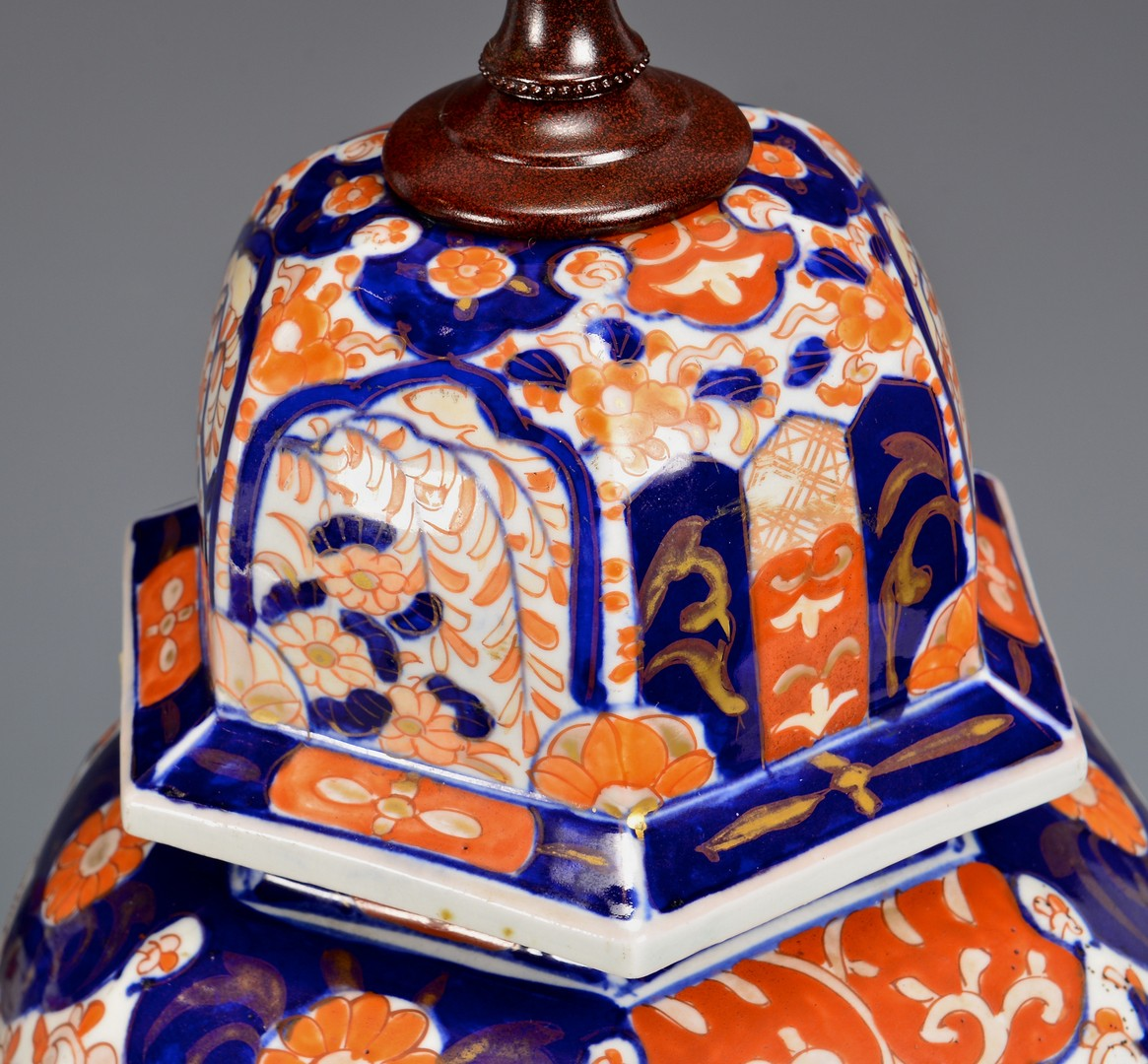 Lot 419: Pair of Imari Urns/Lamps