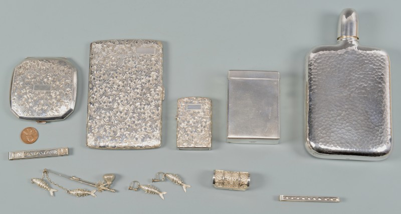 Lot 41: Asian .950 Silver Flask, Smoking and Accessory ite
