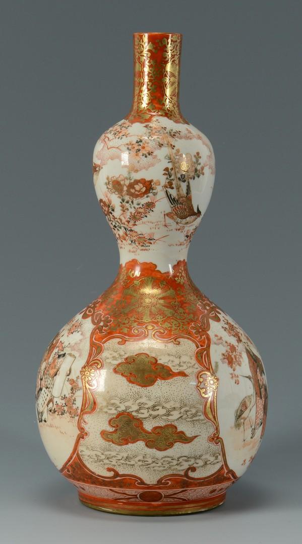 Lot 420: Japanese Kutani Double Gourd Vase & Bottle Vases